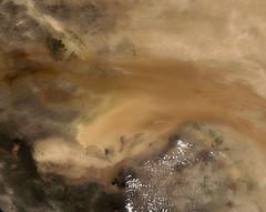 An-Nafud Desert, variant (sjrankin) Tags: 15july2018 edited annafuddesert saudiarabia desert nasa modis 250m aqua arabianpeninsula primage sanddunes mountains arid