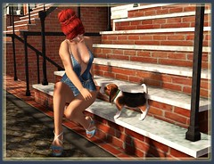 Summer Friend (Caly's Kaleidoscope) Tags: secondlife blog luxuryfashion evilbunnyproductions twe12veevent petitchat kccouture truthhair jian xtcposes gomakeup summer denim puppy dog beagle friend hair makeup