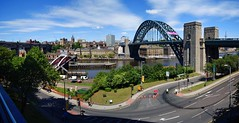 My warped city (WISEBUYS21) Tags: newcastleupontyne the great exhibition north tynerivercruise tynebridge swingbridge robert stephenson highlevelbridge 22nd june 2018 gateshead quays newcastle quayside castle keep guildhall sage baltic river tyne twisty twisting road image panorama wide angle bridge towers blue sky white clouds green grass closed cones
