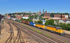 "Westbound Transfer in Kansas City, MO (""Righteous"" Grant G.) Tags: up union pacific railroad railway locomotive train trains west westbound transfer freight emd ge power kansas city missouri"