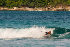 Surfing at Nai Harn beach, Phuket, Thailand (Phuketian.S) Tags: bay surf surfing wave phuket nai harn girl man beach sea island bikini sport travel holiday water andaman board people phuketian cliff rock landscape ocean mountain oldman droplet