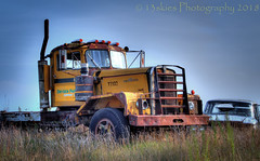 Standing Proud (HTT) (13skies) Tags: htt hdrthursday big old rusted yellow wreck relic forgotten truckthursday highdynamicrange highway happytruckthursday kenworth truck bigrig lights grill