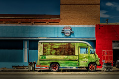 Greyhound (KPortin) Tags: truck htt neon sign pomeroywa losthighwaymuseum davidwebb geometric