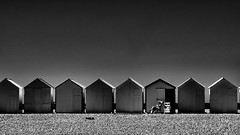 Summer quietness (elgunto) Tags: beach france somme picardie cayeuxsurmer sea sun summer vacation people cabins sonya7 canonfd200 manuallense adapter blackwhite bw silhouettes monochrome