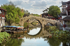 Qibao Ancient Town in Shanghai, China (fesign) Tags: ancient architecture canal history lifestyles nauticalvessel qibao shanghai tourism nopeople traveldestination water town bridgebuiltstructure carvingcraftproduct footpath idyllic ruralscene stonematerial tradition village china