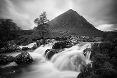 Highland landscape (michael.mu) Tags: leica nordicvisitor scotland m240 21mm superelmarm21mmf34asph waterfall buachailleetivemor landscape mountain highlands monochrome blackandwhite bw neutraldensityfilter longexposure