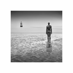 Looking Out (Charles Connor) Tags: anotherplace siranthonygormley crosbybeach merseyside art fineart artisticphotography artistic sculptures monochromeseascapes monochrome monochromelandscape blackandwhite longexposurephotography longexposure canondslr minimalism squareformat