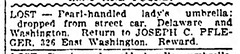 1909 - Joe Pfleger lost umbrella - Indianapolis_Star - 3 Jun 1909