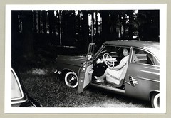 """Ford Taunus 17 M (Vintage Cars & People) Tags: vintage classic black white """"blackwhite"""" sw photo foto photography automobile car cars motor ford taunus 17m p2 17mp2 fordtaunus17m ford17m fordp2 taunusp2 economicmiracle wirtschaftswunder 1950s fifties vehicle antique auto lady woman whitewalltyres whitesidewalltires whitewalls dress sidewalltires fashion slingback slingbacks"""