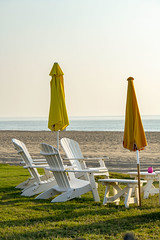 (cbonney) Tags: virginia beach atlantic ocean sunrise morning adirondack chairs umrellas peace tranquility
