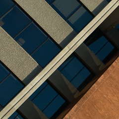 Architectural abstract (KWaterhouse) Tags: architecture building abstract colour color shape triangle pov pointofview texture contrast lines windows brick oshawa durhamregion ontario canada sonya7ii diagonal