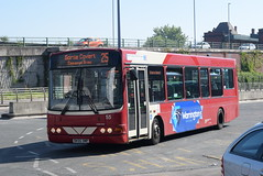WOB 55 @ Warrington bus station (ianjpoole) Tags: warringtons own buses volvo b6ble wright merit dk55omp 55 working route 25 warrington bus station spar shop gorse covert