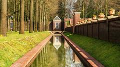 Reflections and symmetry at Paleis het Loo Apeldoorn. (Bart Ros) Tags: reflection water architecture travel palace het loo hetloo apeldoorn trees pots