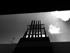 untitled (ChrisRSouthland) Tags: monochrome blackandwhite blackwhite urban chimney clouds sky iphone6 provokeapp