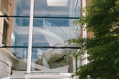 Reflection (JacksonSwaby) Tags: structure sky street streetphotography light lamp lights london city reflection tree trees building brick bricks buildings stairs stair stairwell window windows wall