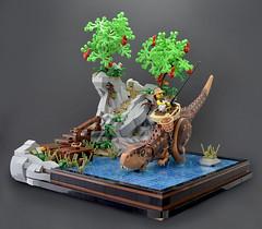 FB (Low Full) (Klikstyle) Tags: lego dinosaur trex fishing vignette apple trees lake