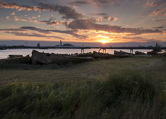 Rainham Concrete Barges (Alan Dell) Tags: landscape thames rainham sunset goldenhour barges havering
