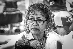 Downtown, Los Angeles, California (paccode) Tags: solemn d850 finger street people blackwhite tourist quiet ring posing california urban candid concern scowl alone rings necklace bored glasses concentrate monochrome serious