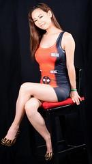 Bit My Lip (Lexmax08) Tags: hair brown long chair studio cosplay black red dress short legs heels vietnamese asian model female woman beautiful