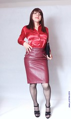 Eager for work (eileen_cd) Tags: secretary leatherskirt redblouse heels clutch standing crossdresser transvestite cd tv