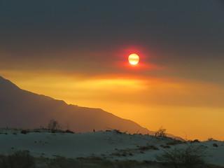 California wildfires desert sun sky.