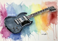 "Watercolor painting ""Gibson sq"" (Andreas Heinen) Tags: sq gibson guitar rainbow realism realistic aquarell watercolor art"
