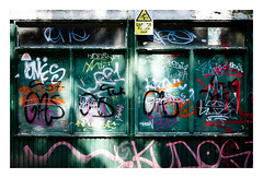 Sun-dappled grafitti (fishyfish_arcade) Tags: 20mmf17 gx7 lumix panasonic panasonic20mmf17asphlumixg grafitti