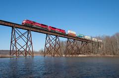 Big Reds over Lake Lemon (Jake Branson) Tags: train railroad locomotive emd sd90mac sd9043mac inrd unionville indiana bridge trestle shuffle creek sahw lake lemon water 9001