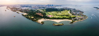 Aerial view of Sentosa island in Sentosa, Singapore. Sentosa is a popular island resort in Singapore city.