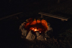 The Fire Pit (brucetopher) Tags: fire ember embers burn cook cooking firepit gred glow hot heat sizzle bench seats sitaround round rock rocks flame flames backyard camp camping wilderness outside outer out nature