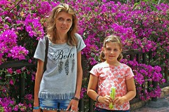 like in the paradise... ::) (green_lover (I wait for your COMMENTS!)) Tags: bougainvillea people family daughter girl martynka me colours junglepark tenerife canaryislands two