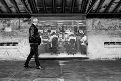 Appreciating Art 069 (Peter.Bartlett) Tags: noiretblanc art unitedkingdom people streetphotography olympuspenf westyorkshire lunaphoto man urban monochrome uk m43 microfourthirds wall bw urbanarte sign blackandwhite peterbartlett candid shipley england gb gallery saltsmill ianbeesleyhonfrps