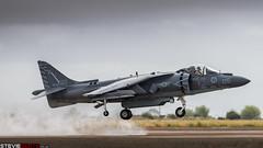 Harrier at Miramar (steviebeats.co.uk) Tags: 2015 airshow fighter jets mcasmiramar av8b harrier ii boeing hover flight rain spray runway marine corps tomcats vma311