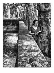 Elle dessine ses souvenirs (francis_bellin) Tags: fraicheur festival été canal noiretblanc streetphoto dessin street monochrome touriste rue juillet blackandwhite eau photoderue avignon