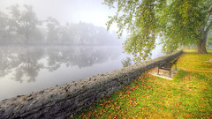 Royal City Park, Guelph, Canada (DeZ - photolores) Tags: royalcitypark guelphcanada water trees reflection fog mist bench hdr nikon nikond610 nikkor nikkor1424mmf28 urban dez greatphotographers