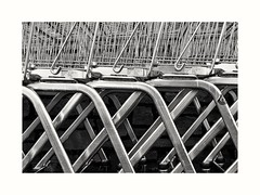 Off my trolley... (zapperthesnapper) Tags: shoppingtrolley trolley abstract blackandwhite mono monochrome monochromatic