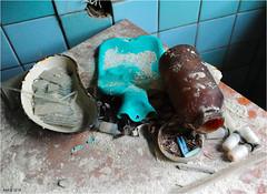 In the Pripyat Hospital (Aad P.) Tags: chernobyl чорнобиль pripyat припять ukraine україна sovietunion cccp nuclearpowerplant radioactivity radiation urbex urbexphotography exclusionzone hospital glassbottles hospitalutensils