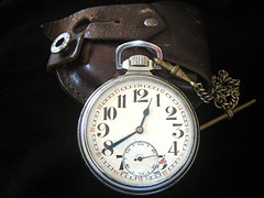 Old 'Timer' (Mary Faith.) Tags: clock watch antique pocket dial face leather case pouch timepiece chain old 1940s winder time vintage