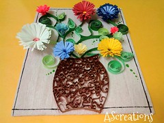 The Fringed Flowers (ascreations26) Tags: art craft promote quilled flowers summer people cute beautiful wallhanging