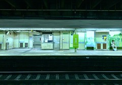 The night of Fanling,Hong Kong. (pangwillis) Tags: waiting man lights dim 粉嶺 hongkong night station train
