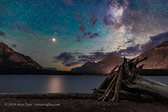 Mars over Middle Waterton Lake (Amazing Sky Photography) Tags: watertonlakesnationalpark middlewatertonlake driftwoodbeach water reflection mars milkyway 2018 stars twan worldheritage darkskypreserve dsp composition alberta parkscanada