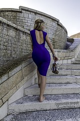 Rosie - finished shooting. (gregoryscottclarke photography) Tags: rosanneneddo museumofcanadianhistory pink black blue boat stone stairs pathway summer hat