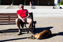 Sea, sun and siesta! (dominiquita52) Tags: streetphotography man homme nap sieste