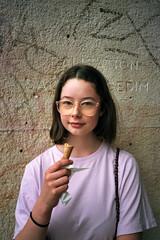 Chloé (michel nguie) Tags: michelnguie film analog street girl icecream portrait vertical glasses hipster lille