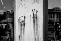 Sinister markings (zolaczakl) Tags: bristol bristolinmonochrome mono monochrome blackandwhitebristol blackandwhite harbourside markings reflections mshed 2018 july uk england nikond7200 nikonafsnikkor50mmf18glens photographybyjeremyfennell