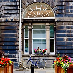 Bicycle and flowers - City Chambers Edinburgh. (joanneclifford) Tags: oldtown flowerboxes bicycle scotland edinburgh citychambers