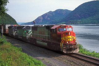 BNSF SD75I 8239, BN SD40 7122, MRL SD45-2 8936 south bound at West Point NY, June 5, 1999