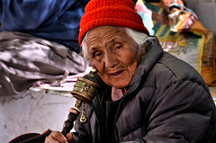 The Old Lady with A Prayer Wheel (pallab seth) Tags: devotee prayerwheel woman rituals religion chokhangvihar leh city ladakh jammuandkashmir gompa monastery buddhist prayer buddhism architecture portrait india indian tibetan