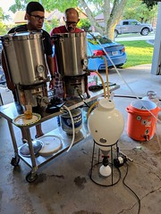 Finally stepped up to all-grain brewing with a hand from these dudes. (broox) Tags: 2737 homebrew kevinminnis zachlarson