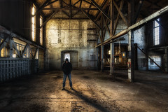 The silence is deafening (Chas56) Tags: building selfportrait architecture workshop railways empty silent abandoned structure canon canon5dmkiii melbourne australia victoria light shadows beams histroric
